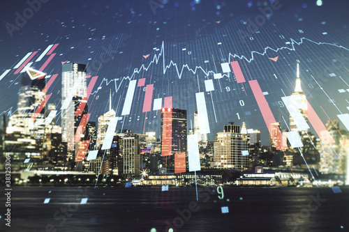 Obraz Economic crisis chart and world map hologram on New York cityscape background, bankruptcy and recession concept. Multiexposure - fototapety do salonu
