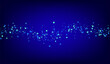 Blue Particle Flying Blue Vector Background.