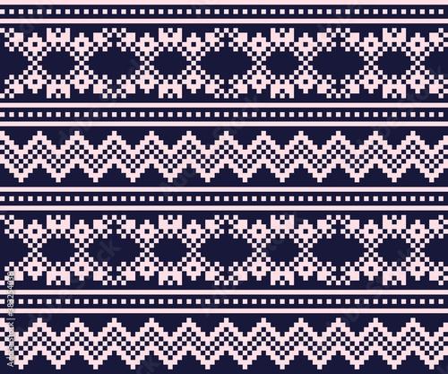 Pink Navy Christmas Fair Isle Seamless Pattern Background Wallpaper Mural