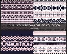 Pink Navy Christmas Fair Isle ...