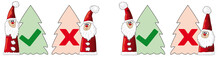Christmas Check Mark Yes No, Hook And Cross Vote, Set Of Christmas Tree Icons With Santa Claus