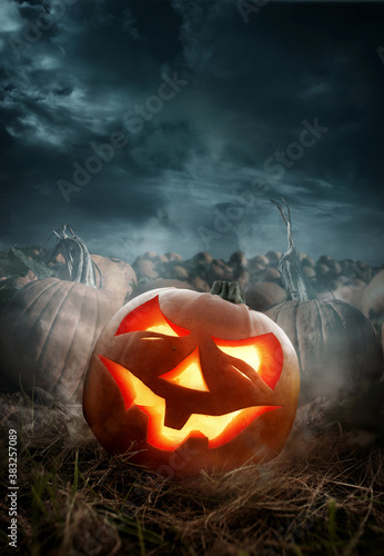 Fototapeta Halloween pumpkin field with a glowing carved pumpkin Jack O lantern at night. Photo composite. obraz