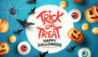Spooky and fun happy halloween event layout design background. including bats, sweets, and grinning jack o lantern pumpkins. Vector illustration.