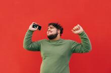 Positive Fat Man In Casual Clo...