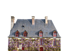 French Cottage With Wisteria Flower Isolated On White Background
