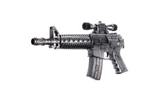 Toy Machine Gun Isolated On Wh...