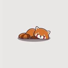 Cute Kawaii Hand Drawn Doodle Bored Lazy Red Panda