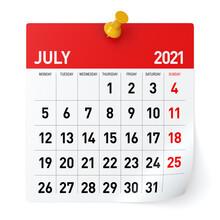 July 2021 - Calendar