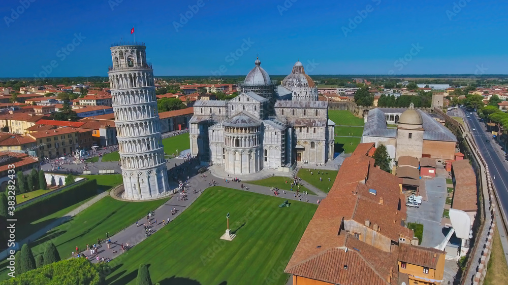 Aerial view of Field of Miracles in Pisa, Tuscany. Drone viewpoint of famous Piazza dei Miracoli