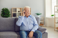 Senior Man Sitting On Couch An...