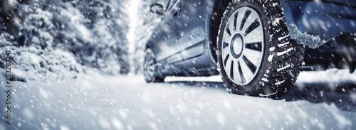Obraz The car stopped on the roadside in a winter blizzard. - fototapety do salonu