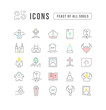 Vector Line Icons of Feast of All Souls