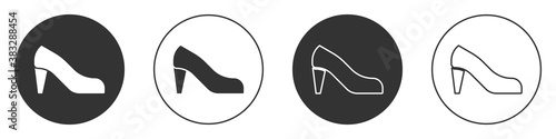 Fotografie, Obraz Black Woman shoe with high heel icon isolated on white background