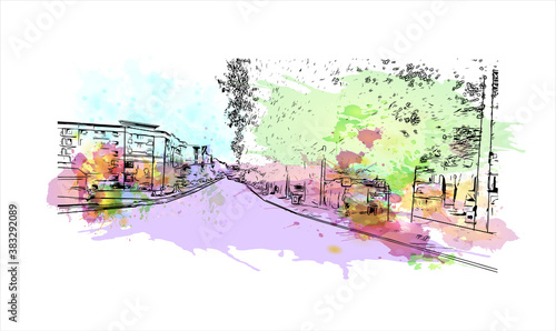 Fototapety, obrazy: Building view with landmark of Bellevue is a city in the Eastside region of United States. Watercolor splash with hand drawn sketch illustration in vector.