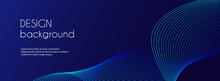 Abstract Dark Blue Banner Template. Vector Minimal Wavy Line Background For Facebook Cover, Header