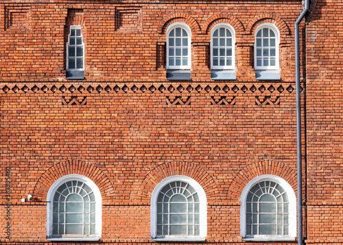 Red brick facade old believers religious building front view Canvas Print