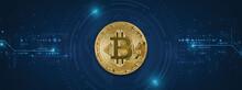 Golden Bitcoin On Blue Tech Circuits Background - Crypto Coins Symbol