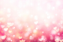 Valentine Bokeh,blurred Hearts Backdrop.Abstract Romantic Background.