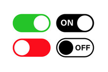 Switch Toggle Buttons ON OFF. Vector Isolated Web Elements. Mobile App Interface Switch Buttons And Icon. Stock Vector.