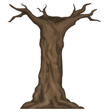 Brown Bark Barren Tree Trunk Hand Drawn Illustration Isolated On White Background