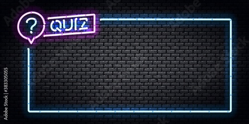 Carta da parati Vector realistic isolated neon sign of Quiz frame logo for template decoration and covering