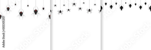 Vector set of realistic isolated seamless pattern with hanging spiders and black widow for template decoration and invitation covering Canvas Print