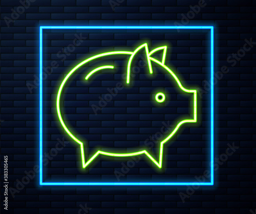 Glowing neon line Piggy bank icon isolated on brick wall background Wallpaper Mural