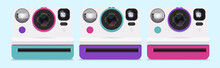 Collection Of Colorful Polaroid Cameras. Vector Illustration.