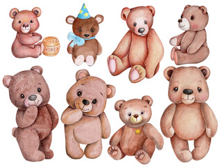 Set of cute cartoon brown teddy bears. Watercolor illustration, isolated.