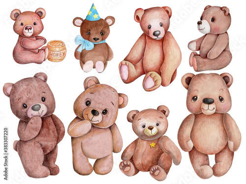 Set of cute cartoon brown teddy bears. Watercolor illustration, isolated. #383307220