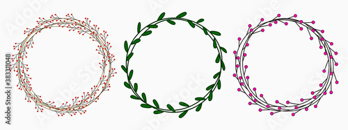 Fototapeta isolated set of minimal floral wreath childish hand drawing green, red and pink colour simple thin lines for background, banner, texture, wallpaper, template, frame, card, cover etc.  vector design obraz