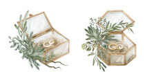 Watercolor Wedding Box With Ri...