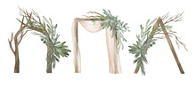 Watercolor Wedding Arch With Green Foliage. Wedding Ceremony Symbol, Celebration, Wooden Arch With Plant, Pine, And Eucalyptus. Hand-drawn Marriage Illustration