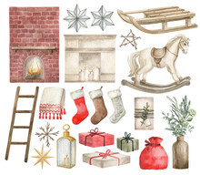 Watercolor Winter Home Decor Christmas Elements. Fireplace, Stars, Sled, Toy Horse, Socks, Gifts, Ladder, Lantern, Bag, Vase. Winter Xmas Clipart