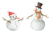 Watercolor Snowman Illustratio...