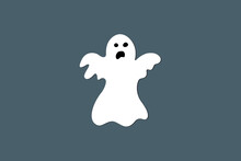 Simple White Cartoon Ghost, Vector Drawing