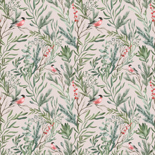 Watercolor Seamless Pattern With Winter Leaves, Branches, Berries, Bullfinch Bird. Delicate Floral Background. Hand Drawn Botanical Print With Christmas Foliage