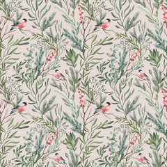 Fototapeta Inspiracje na zimę Watercolor seamless pattern with winter leaves, branches, berries, bullfinch bird. Delicate floral background. Hand drawn botanical print with christmas foliage