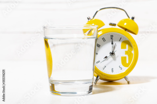 Stampa su Tela morning glass of pure water, conceptual photo on white background