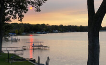 Sunset Over Lake Deck Pier Ame...