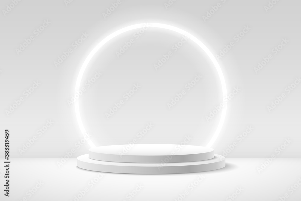 Fototapeta Abstract round display for product on website in modern. Background rendering with podium and minimal white texture wall scene, 3d rendering geometric shape grey color. Vector illustration
