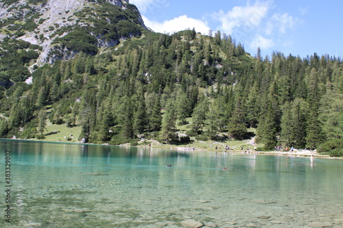 Fototapety, obrazy: Hiking tour to Seebensee in the Austrian Alps between to Ehrwalder Alm and Coburger Hütte
