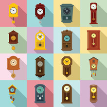 Pendulum Clock Icons Set. Flat Set Of Pendulum Clock Vector Icons For Web Design
