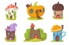 Cute Fantasy Houses Flat Set For Web Design. Cartoon Fairy And Magical Housing Village For Forest Elves And Gnomes Isolated Vector Illustration Collection. Fantasy For Kids And Landscape Concept