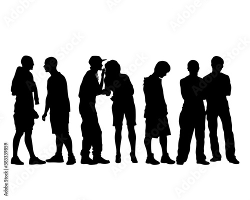 Fototapeta Young people in fashionable clothes on street. Isolated silhouettes on white background obraz