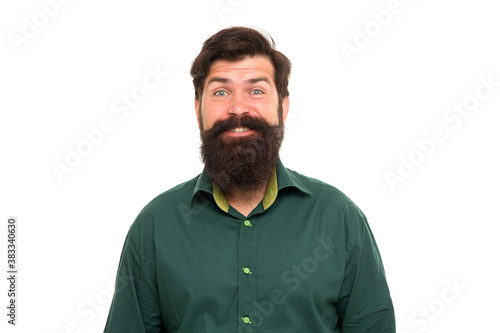 Fotografía Happy hipster with long beard hair and stylish haircut smile with brutal look is