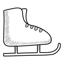 Christmas Holidays Kid Skates Icon. Hand Drawn And Outline Illustration Of Christmas Holidays Kid Skates Vector Icon For Web Design