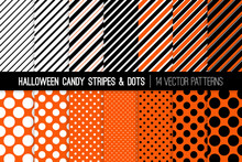 Halloween Orange, Black And White Candy Stripes And Polka Dots Vector Patterns. Bold Geometric Backgrounds. Repeating Pattern Swatches Included.