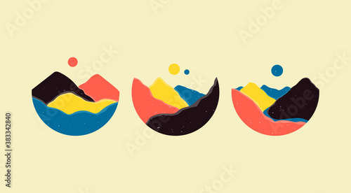 Mountains, river, sea view. Hills, sun, Moon. Round Icons. Flat Abstract design. Scandinavian style lanscapes. Set of three hand drawn trendy Vector illustrations. Wallpaper Templates for stories
