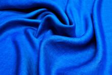 Linen Fabric Denim Blue Backgr...